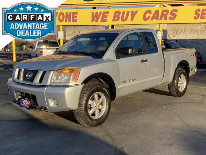 2008 Radiant Silver Metallic /Gray Cloth Nissan Titan PRO-4X King Cab 4WD (1N6AA06C28N) with an 5.6L V8 engine, Automatic transmission, located at 801 South State Street, Salt Lake City, UT, 84111, (801) 328-0098, 40.751953, -111.888206 - Photo #0