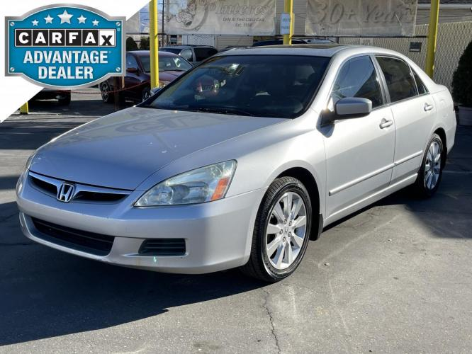 2007 Vogue Silver Metallic /Gray Leather Honda Accord EX-L V6 (1HGCM66517A) with an 3.0L V6 engine, Automatic transmission, located at 801 South State Street, Salt Lake City, UT, 84111, (801) 328-0098, 40.751953, -111.888206 - Photo #0